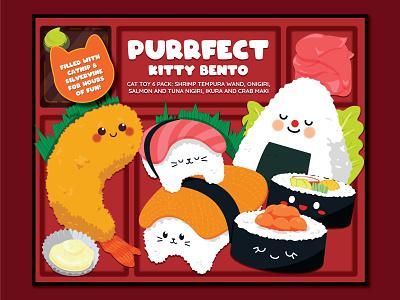 Kitty Bento bento sushi surface design packaging vector illustration flat design