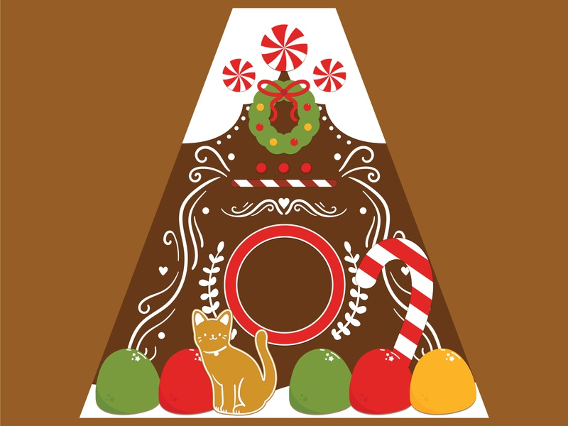 Kitty Gingerbread House christmas holiday cats surface design packaging vector illustration flat design