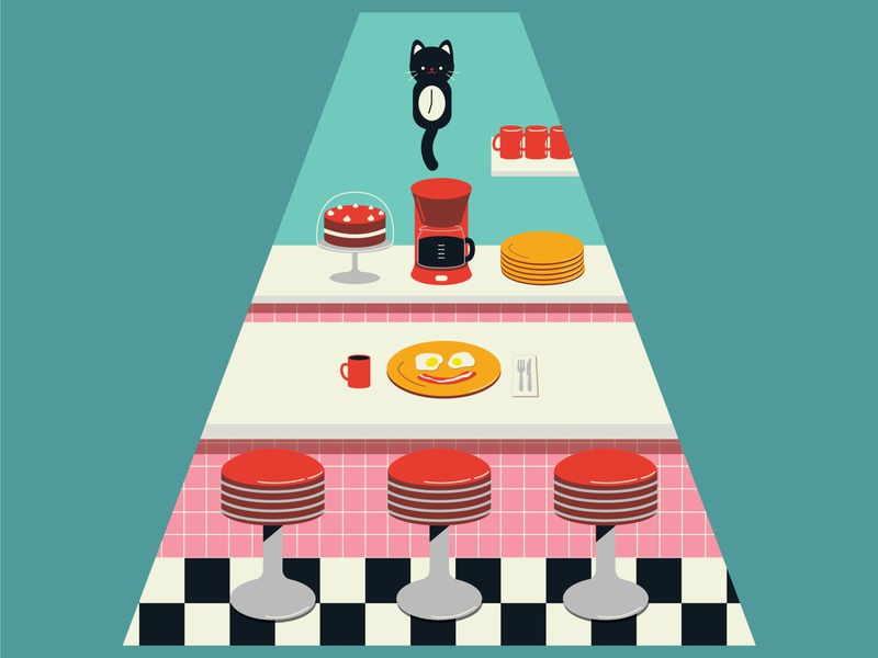 Kitty's Diner cats surface design packaging vector illustration flat design