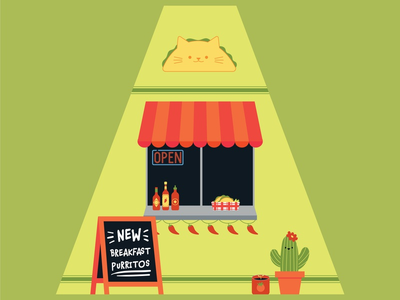 Taco Cat cats surface design packaging vector illustration flat design
