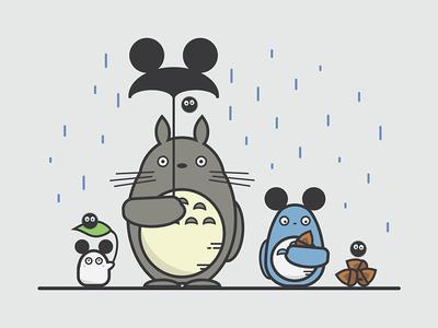 Totoro & Mickey Ears illustration soot sprites mickey mouse totoro