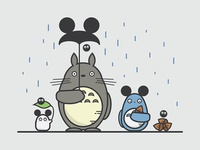 Totoro & Mickey Ears illustration soot sprites mickey mouse totoro