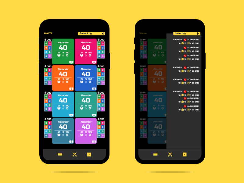 8 Player Screen & Game Log ux ui app design