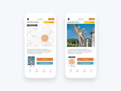 Let's Roam Scavenger Hunt App: Location Screen
