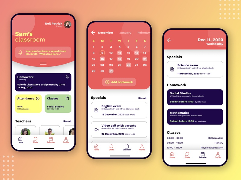 Parent-Teacher interaction app parent teacher user interface design userinterface user experience user interface user uidesign ui design uiux minimal logo mobile flat figma art app ux ui design