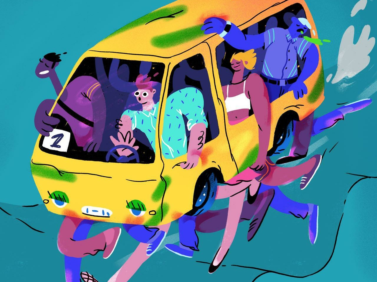 Commute (The Marshrutka) transport city marshrutka challenge urban people nikolaev mykolaiv bus ukraine commute poster illustration everyday art procreate editorial illustration hand drawn doodle design art illustration