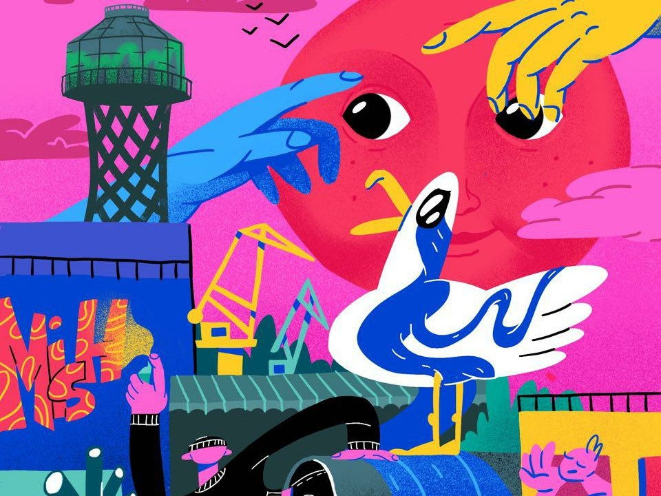 Mykolaiv, the City of Ukraine (Mural) poster illustration procreate city people seagull sunset nikolaev mykolaiv ukraine street art graffiti mural urban editorial illustration hand drawn doodle design art illustration