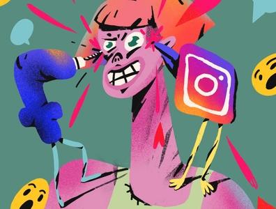 Agressive Social Networks anger smile like comment deep work productivity focus distraction social network instagram facebook everyday art procreate editorial illustration photoshop hand drawn doodle design art illustration
