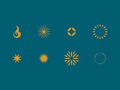 *Sparks* salon oceanside gold logo temperature degree fireworks burst symbol star heat fire sun spark