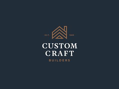 Custom Craft Builders Logo line house gold navy construction logo construction build design remodel