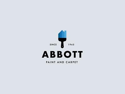 Abbott Paint & Carpet renovation brush logotype blue house paint logo