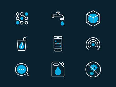 Sustainable Water Technology Icons tech drop water solid line white blue icons