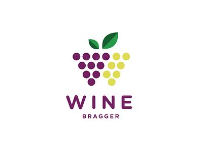 Wine Bragger circle leaf wine grapes logo