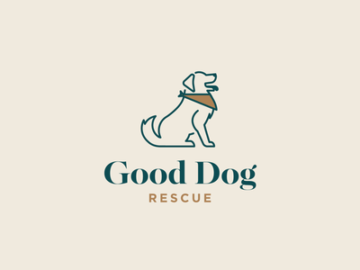 Who's a Good Boy muted colors doggy adopt rescue bandana typography branding design pup logo dog illustration