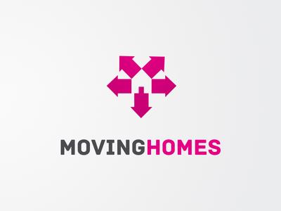 Moving Homes Logo Design logo arrows houses homes grey pink identity design logo design