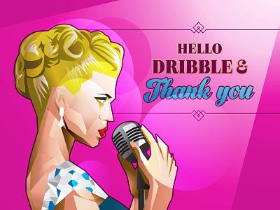 Hello Dribble retro blue pink art deco illustration shot debut