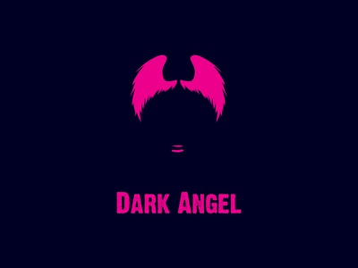 Dark Angel Logo logo design identity design hair negative space mouth lips woman wings navy pink angel