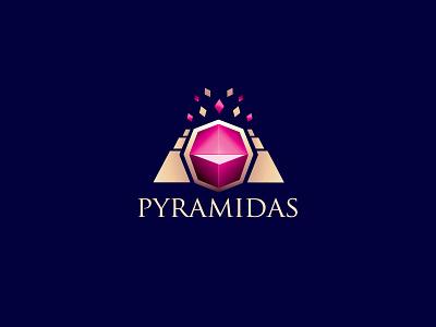 Pyramidas Logo Design identity design logo design pyramid jewellery jewelery diamond gold pink