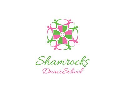 Shamrock Logo illustration logo branding identity design logo design flowers people green pink school dance