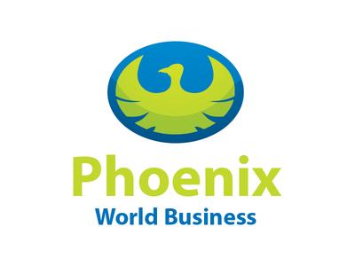 Phoenix World Business Logo Design bird animal phoenix green blue branding identity design logo design