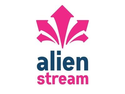 Alien Stream Logo Design arrows logo blue pink branding identity design logo design stream alien