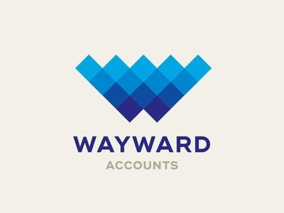 Wayward Accounts Logo Design accounting accounts squares wave blue branding identity design logo design