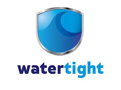 WaterTIght Logo Design sheild wave water illustration blue branding identity design logo design