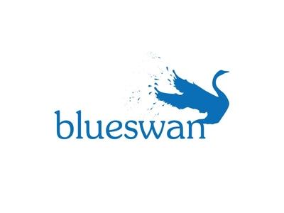 Blue Swan Logo bird house swan water bird animal blue branding identity design logo design
