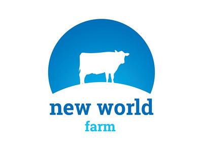 New World Farm logo earth globe eartj farm cow animal illustration blue branding identity design logo design