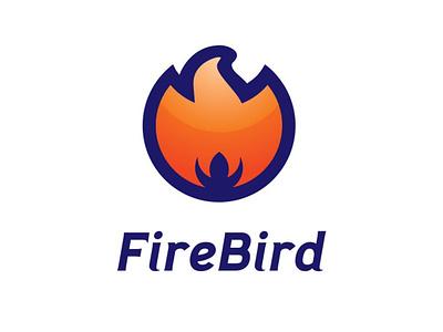 FireBird Logo Design orange fire bird animal illustration logo blue branding identity design logo design