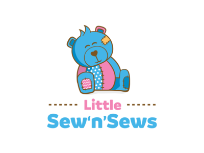 Little Sew n Sews Logo Design teddybear knitting sewing bear animal illustration logo pink blue branding identity design logo design