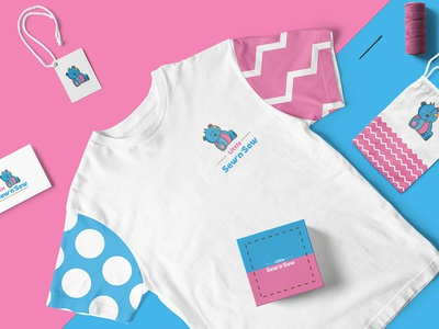 Branding for Sew n Sews bear illustration knitting sewing stitching teddy bear bear animal illustration logo pink blue branding identity design logo design