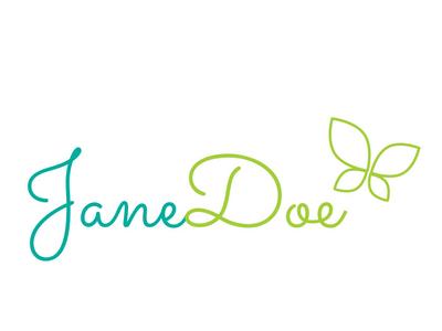Jane Doe Logo identitydesign logo design logo typemark script teal green butterfly jane doe jane personal branding