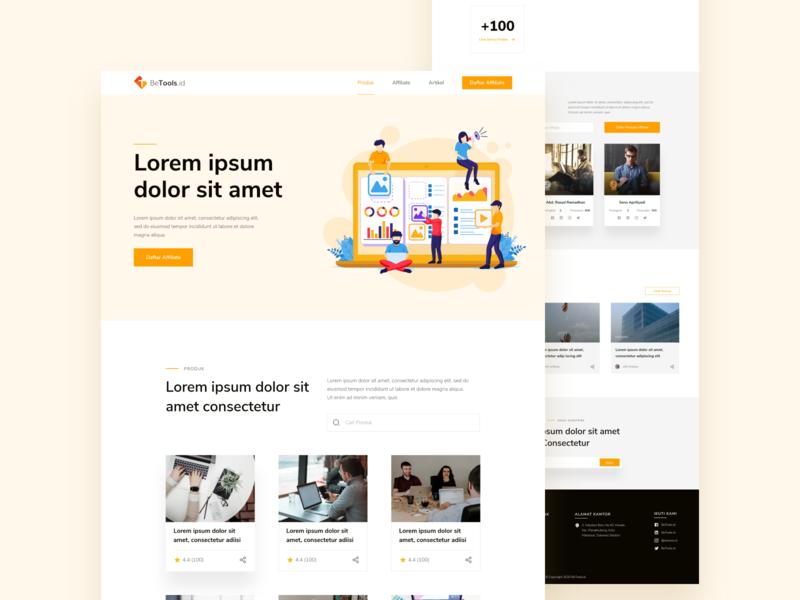 BeTools.id ui ux web web orange ui landing page design betools.id landing page ui ux design ui design design mhala