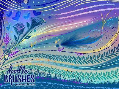 Doodle Brushes | Sample Sheet 1 brush script modern script script lettering digital lettering digital art illustration lettering photoshop doodle brush set brush pack photoshop brushes