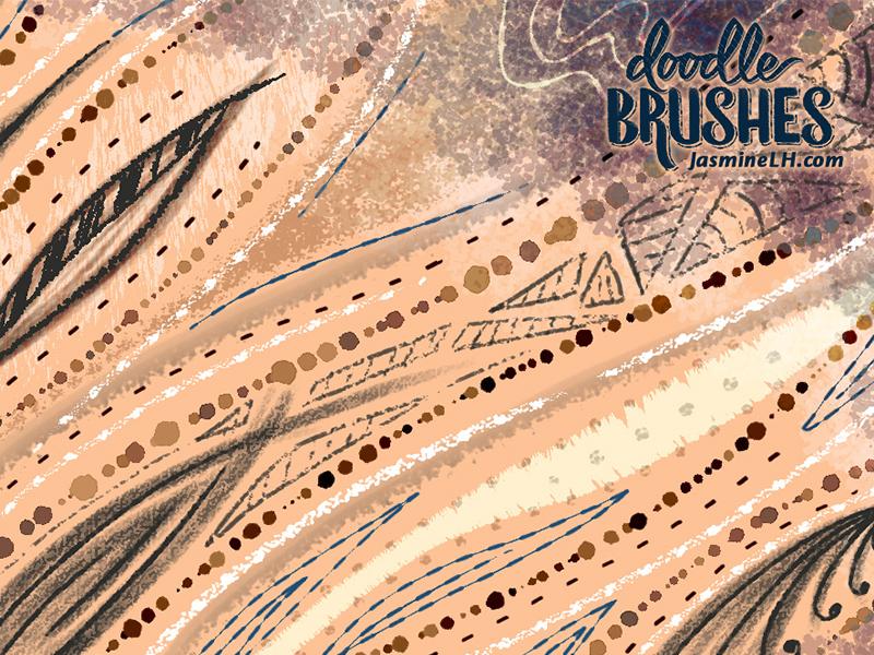 Doodle Brushes | Sample Sheet 2 color discount digital painting pattern design digital art illustration surface pattern design photoshop doodle brush set brush pack photoshop brushes