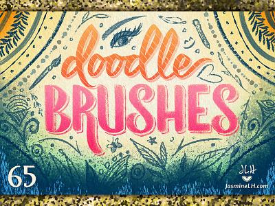 Doodle Brushes | Cover 2 brush script color script lettering digital lettering digital art illustration lettering photoshop texture brush set brush pack photoshop brushes