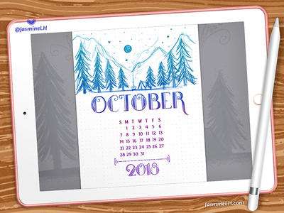 October 2018 Bullet Journal | iPad Pro forest drawing adobe photoshop ipad pro doodles lettering digital art digital illustration illustration planner calendar october bullet journal