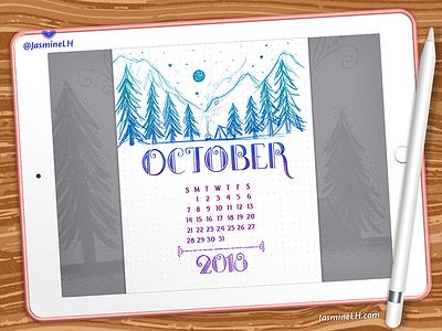 October 2018 Bullet Journal | iPad Pro forest drawing adobe photoshop ipad pro doodles lettering digital art digital illustration illustration planner calendar october bullet journal