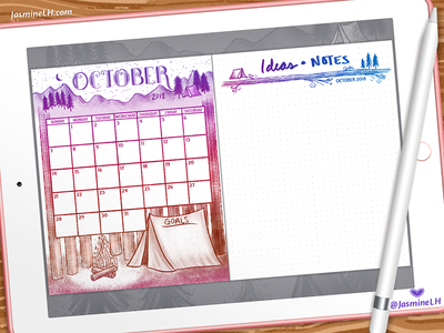 October 2018 Bullet Journal Monthly Log | iPad Pro