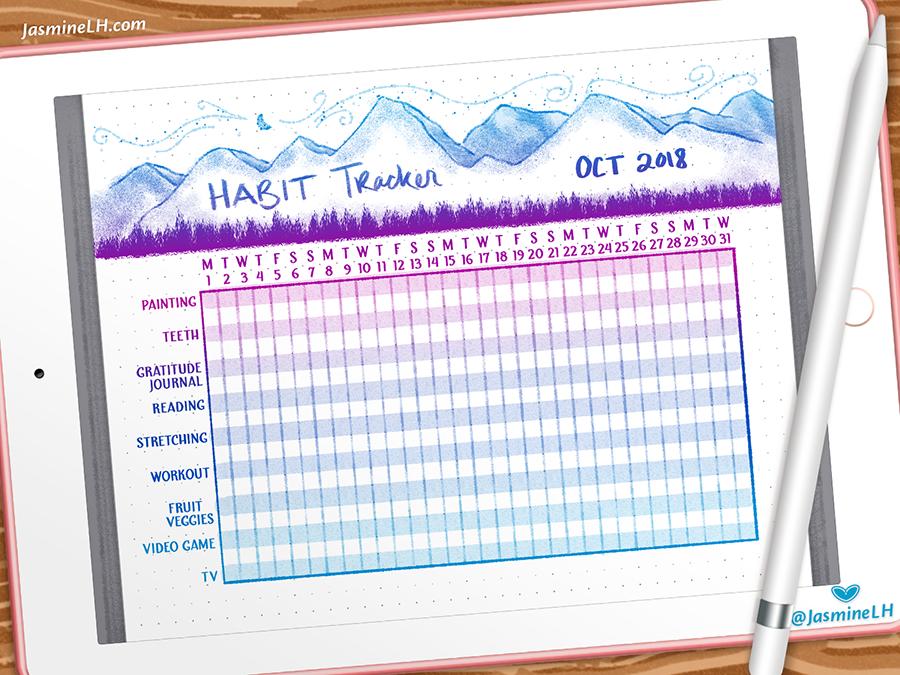 October 2018 Bullet Journal Habit Tracker | iPad Pro habit tracker design sketch digital illustration doodle lettering digital painting photoshop drawing digital art illustration bullet journal