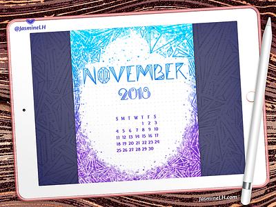 November 2018 Bullet Journal | iPad Pro photoshop planner calendar drawing doodle bullet journal design digital painting digital art lettering illustration