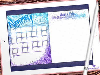 November 2018 Bullet Journal Monthly Log | iPad Pro custom brushes monthly log calendar bullet journal digital illustration doodle digital painting digital lettering photoshop digital art lettering illustration