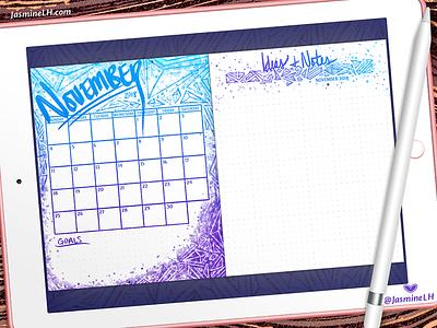 November 2018 Bullet Journal Monthly Log | iPad Pro custom brushes monthly log calendar bullet journal digital illustration doodle digital painting digital lettering photoshop digital art lettering illustration