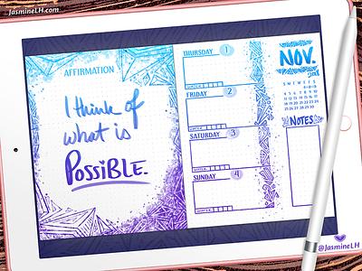 November 2018 Bullet Journal Weekly Log | iPad Pro layout design weekly log bullet journal layout doodle design digital illustration digital painting photoshop drawing digital art lettering illustration