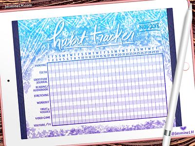 November 2018 Bullet Journal Habit Tracker | iPad Pro calendar bullet journal layout design hand lettering digital illustration doodle digital painting digital lettering photoshop drawing digital art lettering illustration