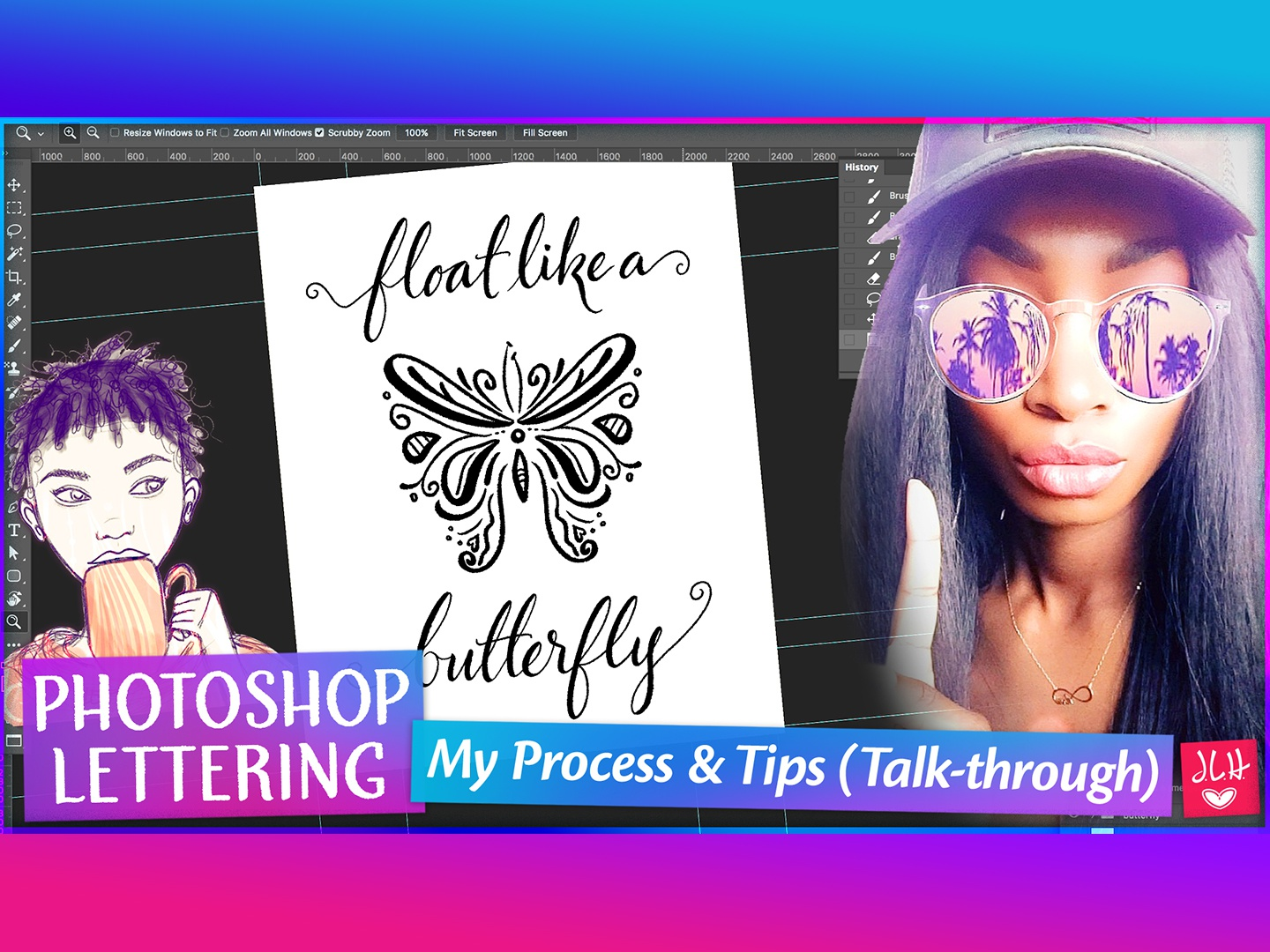 Float Like A Butterfly   From Sketch to Finish (Pt. 1) calligraphy modern script photoshop lettering hand lettering digital illustration handlettering drawing photoshop digital painting lettering digital art digital lettering illustration