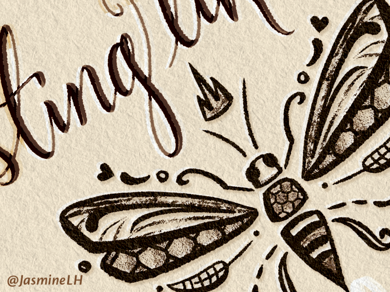Sting Like A Bee | From Sketch to Finish (Pt. 2) calligraphy brush script photoshop lettering hand lettering adobe sketch sketch digital illustration digital painting digital lettering photoshop drawing digital art lettering illustration