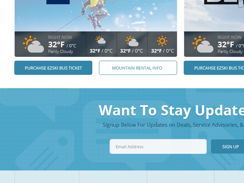 Ski Bus Mountains Page bus web design ui ux blue black orange simple design responsive grid