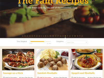 WIP Family Recipe Site web flat responsive recipe cookbook family fun design
